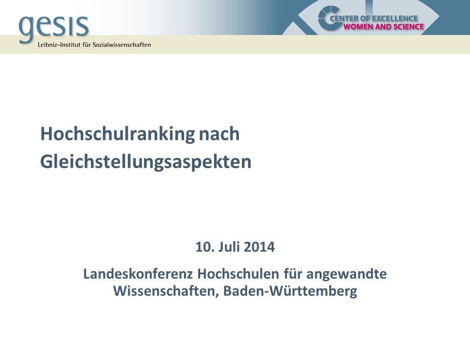 Gliederung 1.Gleichstellungserfolge und Indikatoren 2.Ergebnisse für Baden-Württemberg 1.Hochschulranking 2.Länderranking 3.Ranking und andere Instrumente der Qualitätssicherung