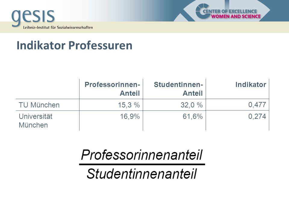 Indikator Professuren Professorinnen- Anteil TU München15,3 % Universität München 16,9% Studentinnen- Anteil 32,0 % 61,6% Indikator 0,477 0,274