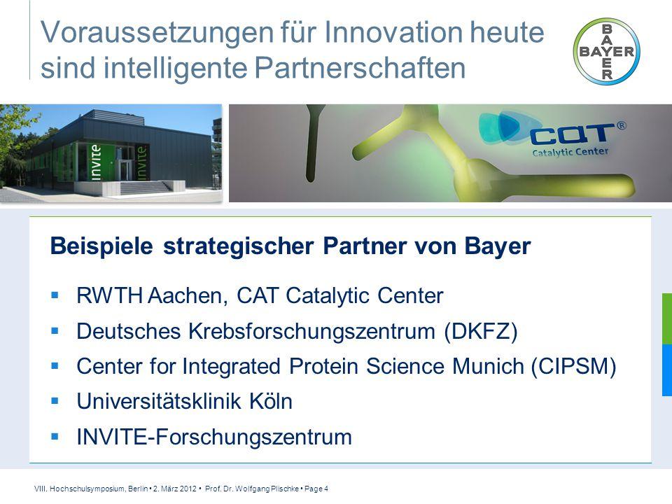 VIII. Hochschulsymposium, Berlin 2. März 2012 Prof. Dr. Wolfgang Plischke Page 4 Voraussetzungen für Innovation heute sind intelligente Partnerschafte