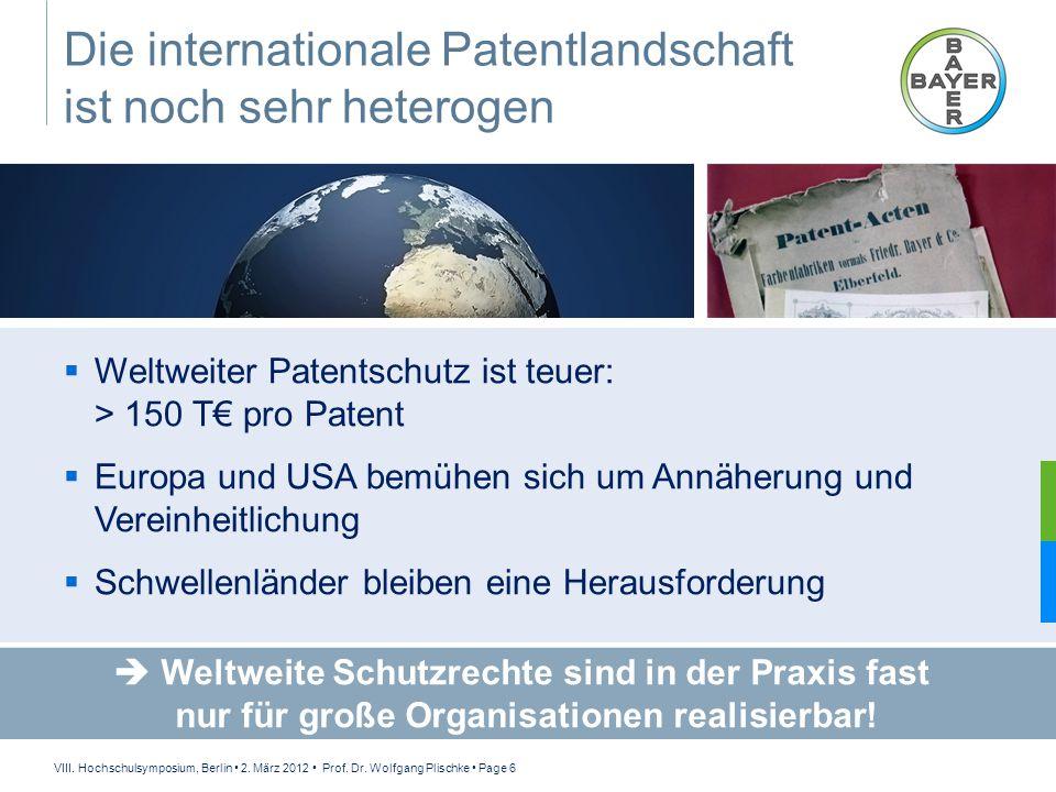 VIII. Hochschulsymposium, Berlin 2. März 2012 Prof. Dr. Wolfgang Plischke Page 6 Die internationale Patentlandschaft ist noch sehr heterogen  Weltwei