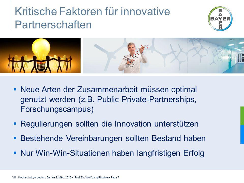 VIII. Hochschulsymposium, Berlin 2. März 2012 Prof. Dr. Wolfgang Plischke Page 7 Kritische Faktoren für innovative Partnerschaften  Neue Arten der Zu