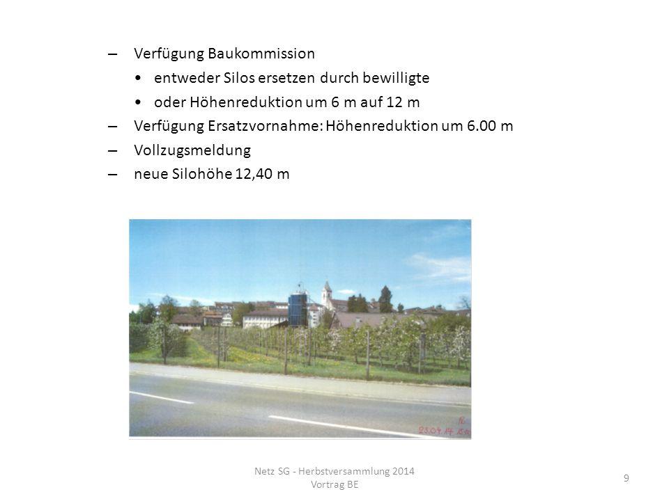– Verfügung Baukommission entweder Silos ersetzen durch bewilligte oder Höhenreduktion um 6 m auf 12 m – Verfügung Ersatzvornahme: Höhenreduktion um 6