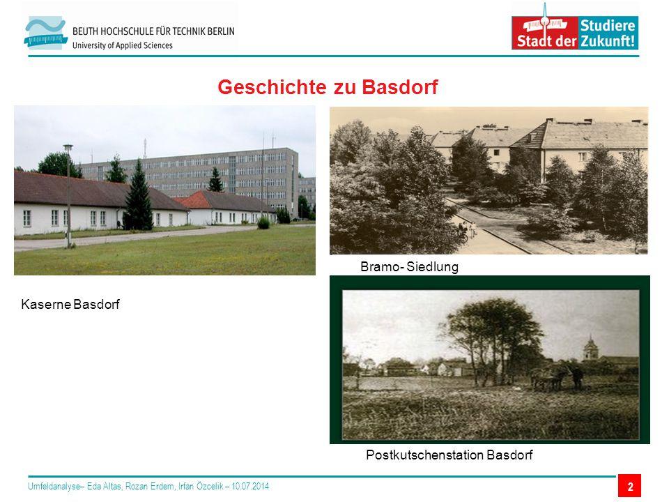2 Geschichte zu Basdorf Umfeldanalyse– Eda Altas, Rozan Erdem, Irfan Özcelik – 10.07.2014 Bramo- Siedlung Kaserne Basdorf Postkutschenstation Basdorf