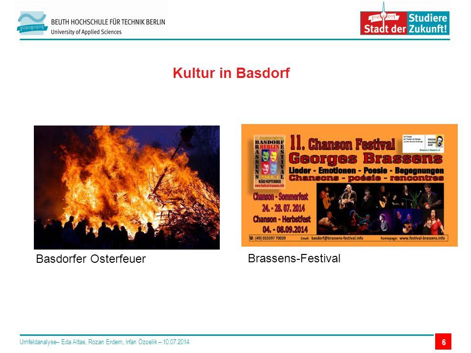 6 Kultur in Basdorf Umfeldanalyse– Eda Altas, Rozan Erdem, Irfan Özcelik – 10.07.2014 Basdorfer Osterfeuer Brassens-Festival