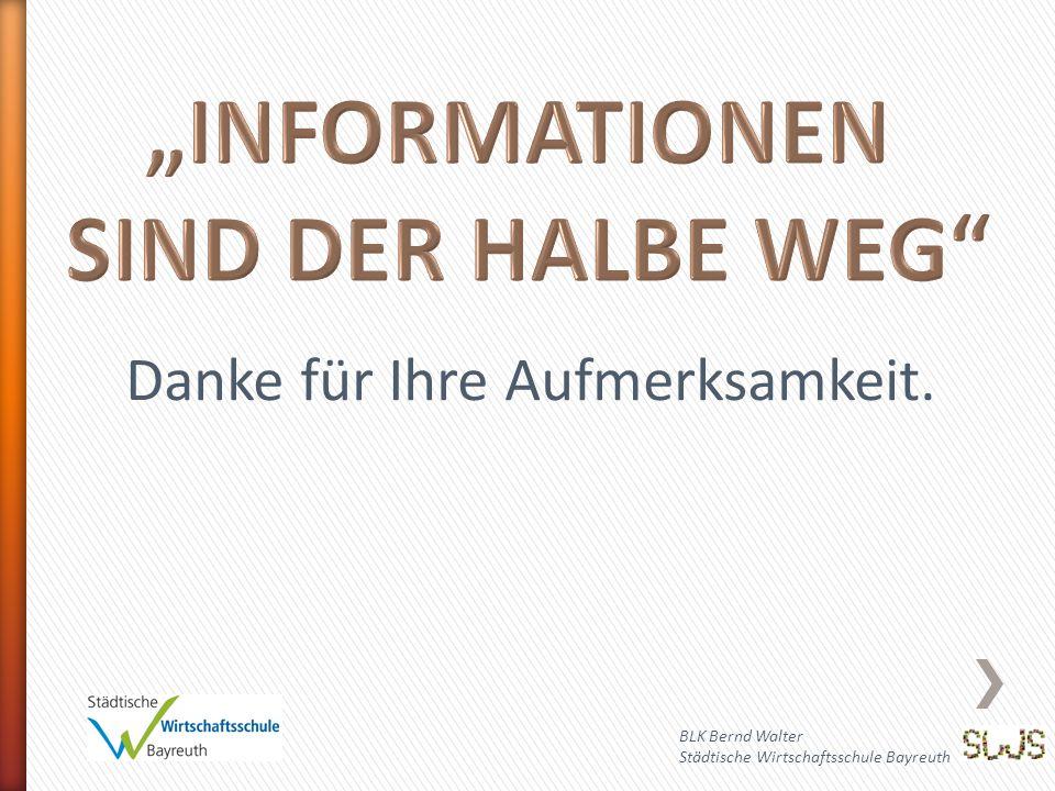 BLK Bernd Walter Städtische Wirtschaftsschule Bayreuth Danke für Ihre Aufmerksamkeit.