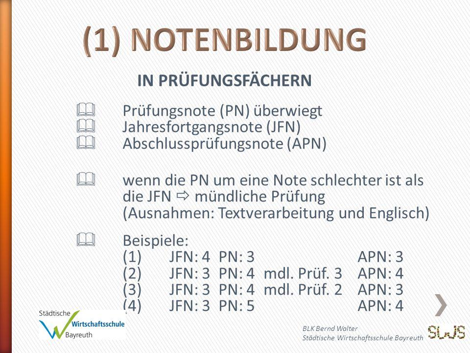 BLK Bernd Walter Städtische Wirtschaftsschule Bayreuth IN PRÜFUNGSFÄCHERN  Prüfungsnote (PN) überwiegt  Jahresfortgangsnote (JFN)  Abschlussprüfungsnote (APN)  wenn die PN um eine Note schlechter ist als die JFN  mündliche Prüfung (Ausnahmen: Textverarbeitung und Englisch)  Beispiele: (1)JFN: 4 PN: 3APN: 3 (2)JFN: 3 PN: 4mdl.