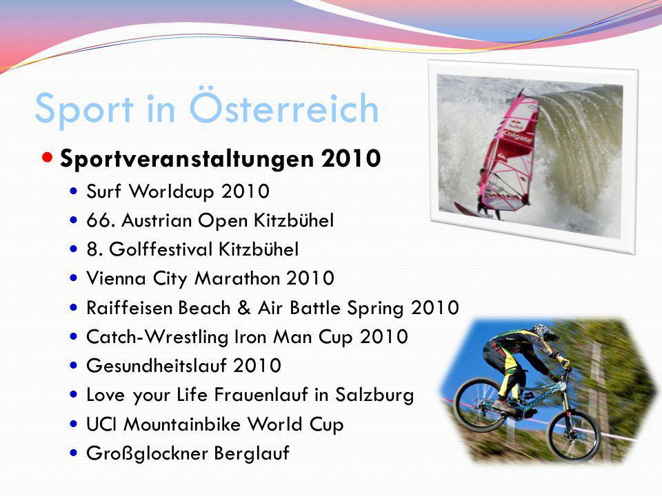 Sport in Österreich Sportveranstaltungen 2010 Surf Worldcup 2010 66. Austrian Open Kitzbühel 8. Golffestival Kitzbühel Vienna City Marathon 2010 Raiff