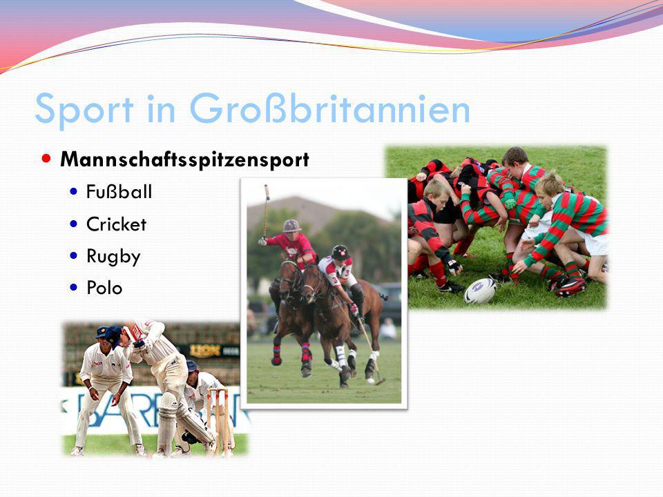 Sport in Großbritannien Mannschaftsspitzensport Fußball Cricket Rugby Polo