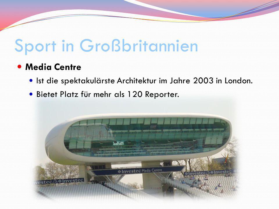 Sport in Großbritannien Media Centre Ist die spektakulärste Architektur im Jahre 2003 in London. Bietet Platz für mehr als 120 Reporter.