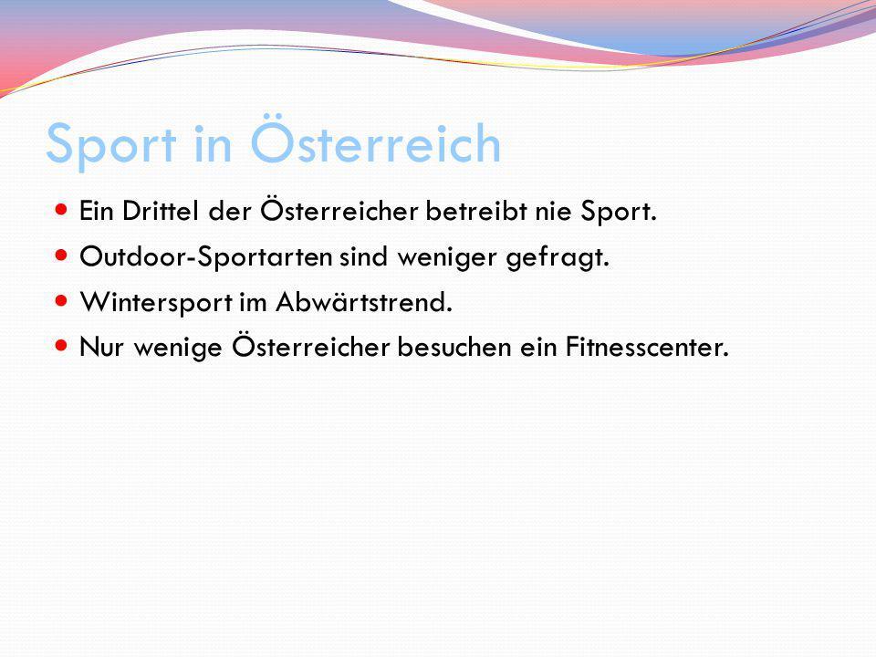 Ein Drittel der Österreicher betreibt nie Sport. Outdoor-Sportarten sind weniger gefragt. Wintersport im Abwärtstrend. Nur wenige Österreicher besuche