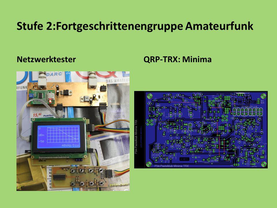 Stufe 2:Fortgeschrittenengruppe Amateurfunk NetzwerktesterQRP-TRX: Minima