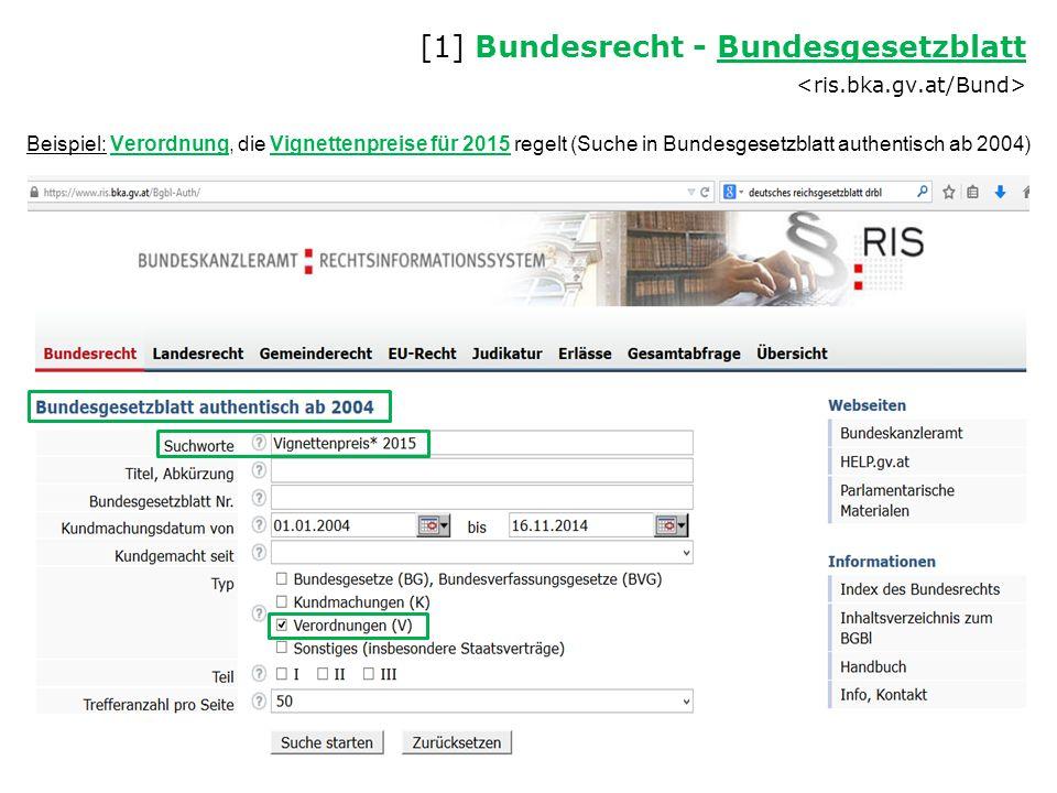 Beispiel: Verordnung, die Vignettenpreise für 2015 regelt (Suche in Bundesgesetzblatt authentisch ab 2004) [1] Bundesrecht - Bundesgesetzblatt Bundesg