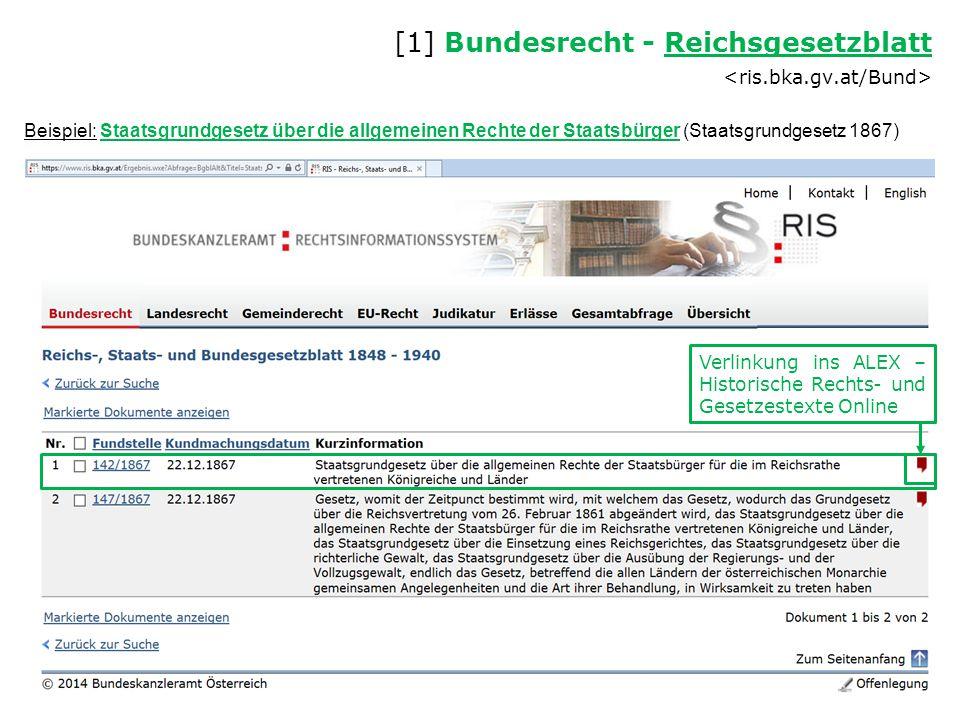 Beispiel: Staatsgrundgesetz über die allgemeinen Rechte der Staatsbürger (Staatsgrundgesetz 1867) [1] Bundesrecht - Reichsgesetzblatt Reichsgesetzblat