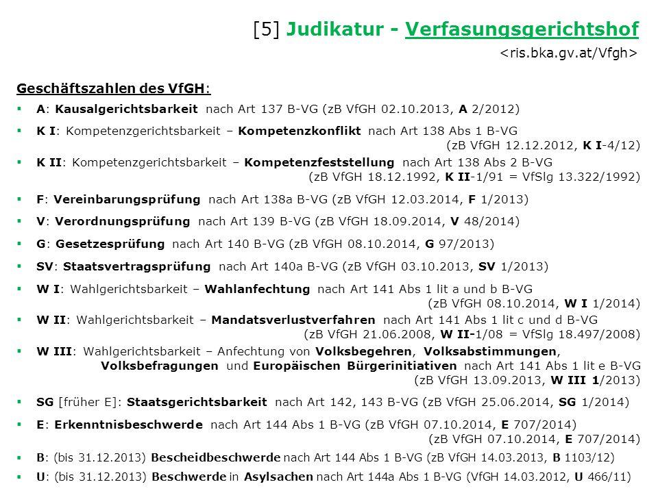 [5] Judikatur - Verfasungsgerichtshof Verfasungsgerichtshof Geschäftszahlen des VfGH:  A: Kausalgerichtsbarkeit nach Art 137 B-VG (zB VfGH 02.10.2013
