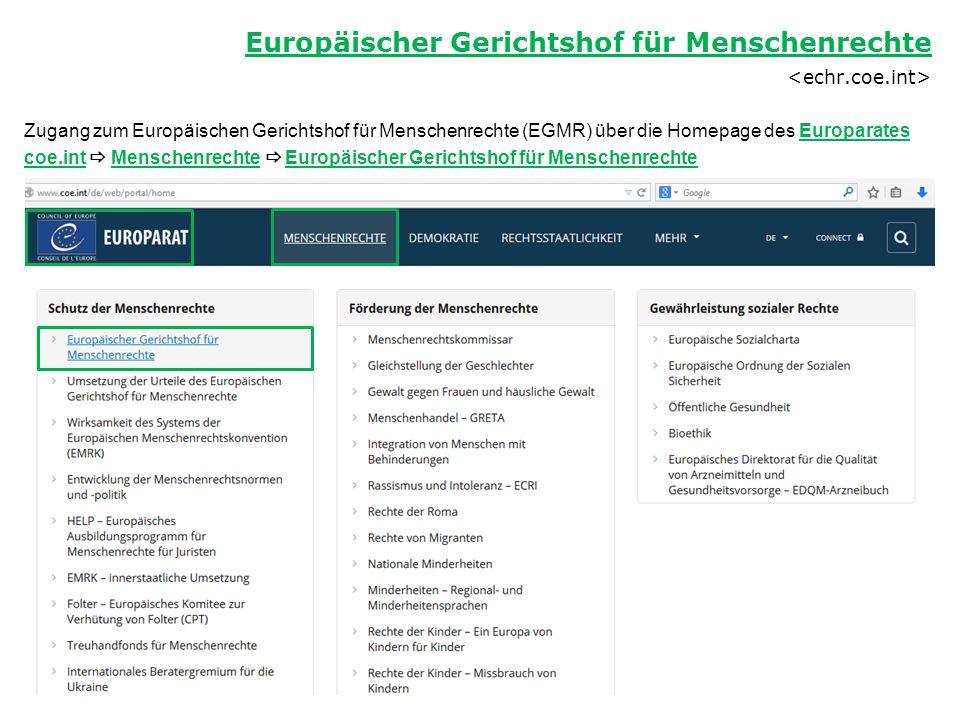 Zugang zum Europäischen Gerichtshof für Menschenrechte (EGMR) über die Homepage des Europarates coe.int  Menschenrechte  Europäischer Gerichtshof fü