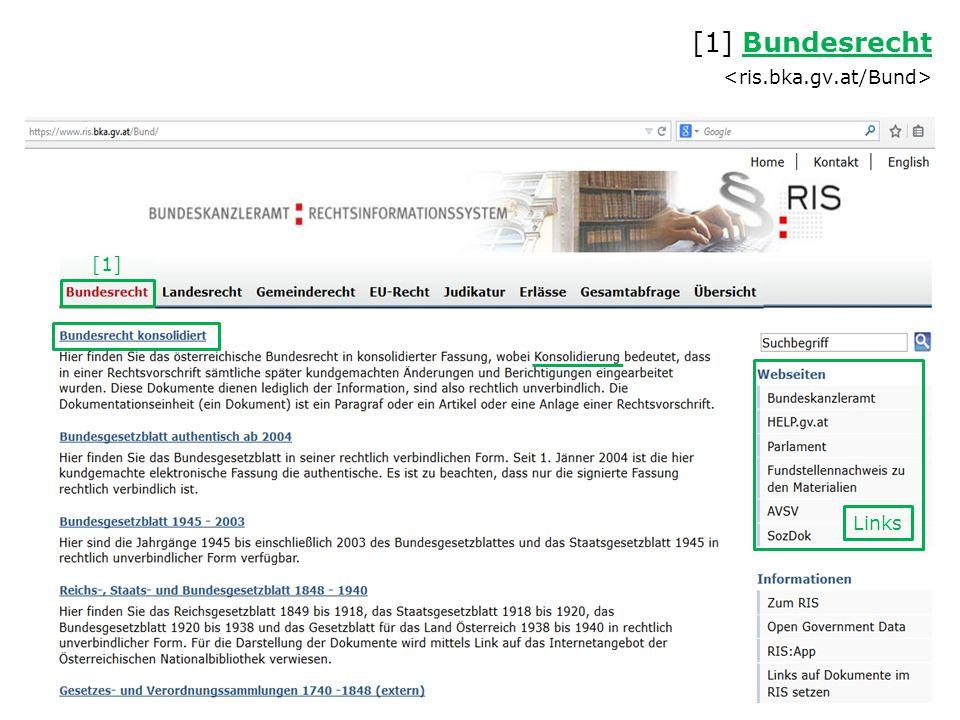 [1] Bundesrecht Bundesrecht = RIS-ABFRAGEHANDBUCH (enthält Hinweise zu den einzelnen Eingabefeldern)