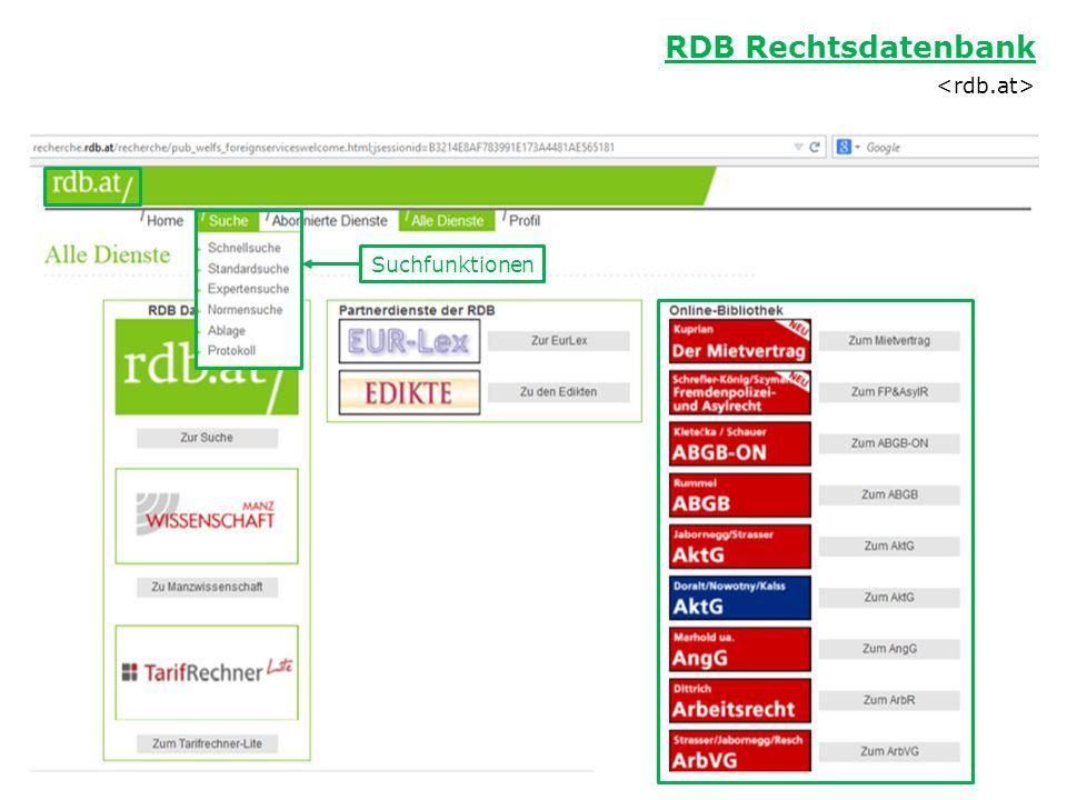 RDB Rechtsdatenbank Suchfunktionen