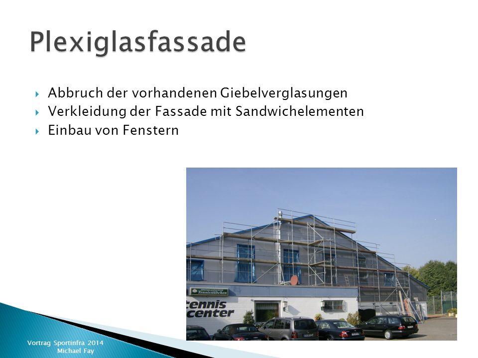  Abbruch der vorhandenen Giebelverglasungen  Verkleidung der Fassade mit Sandwichelementen  Einbau von Fenstern Vortrag Sportinfra 2014 Michael Fay