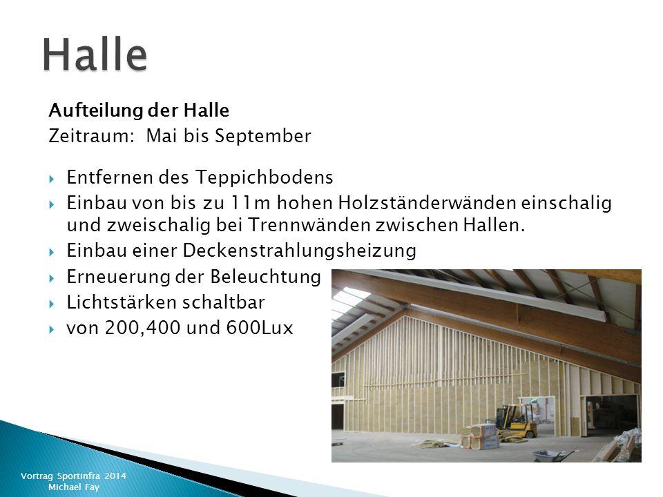 Aufteilung der Halle Zeitraum: Mai bis September  Entfernen des Teppichbodens  Einbau von bis zu 11m hohen Holzständerwänden einschalig und zweischa