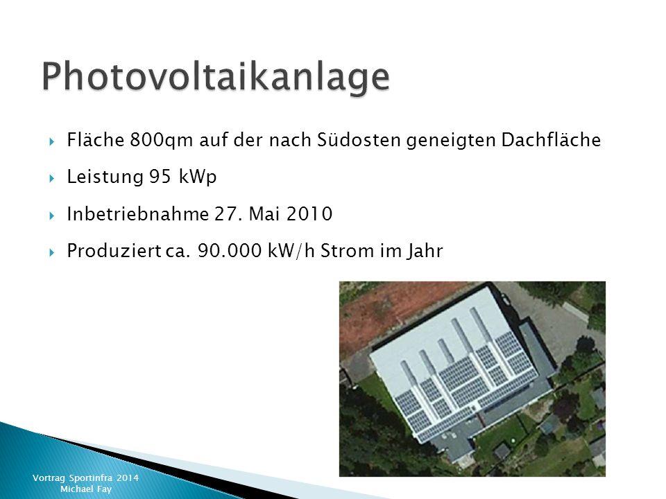  Fläche 800qm auf der nach Südosten geneigten Dachfläche  Leistung 95 kWp  Inbetriebnahme 27. Mai 2010  Produziert ca. 90.000 kW/h Strom im Jahr V