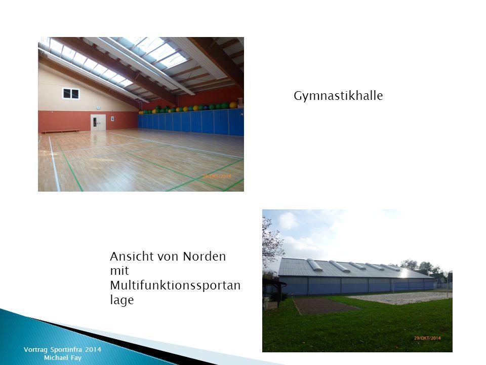 Vortrag Sportinfra 2014 Michael Fay Gymnastikhalle Ansicht von Norden mit Multifunktionssportan lage