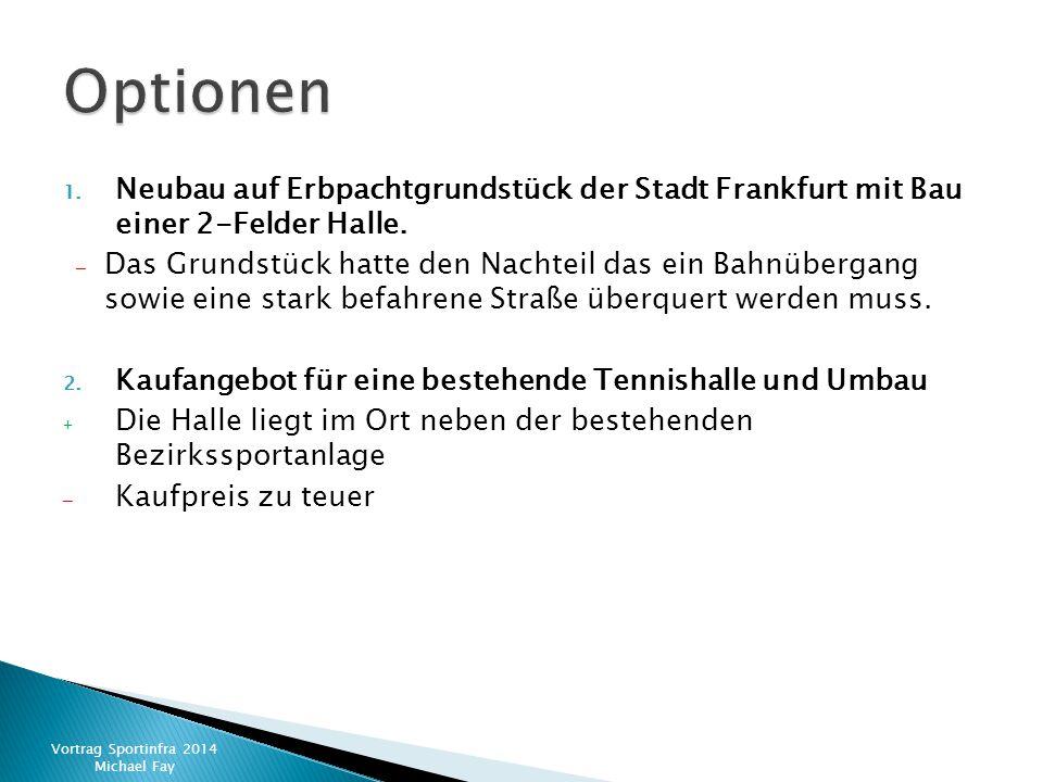 1. Neubau auf Erbpachtgrundstück der Stadt Frankfurt mit Bau einer 2-Felder Halle. – Das Grundstück hatte den Nachteil das ein Bahnübergang sowie eine