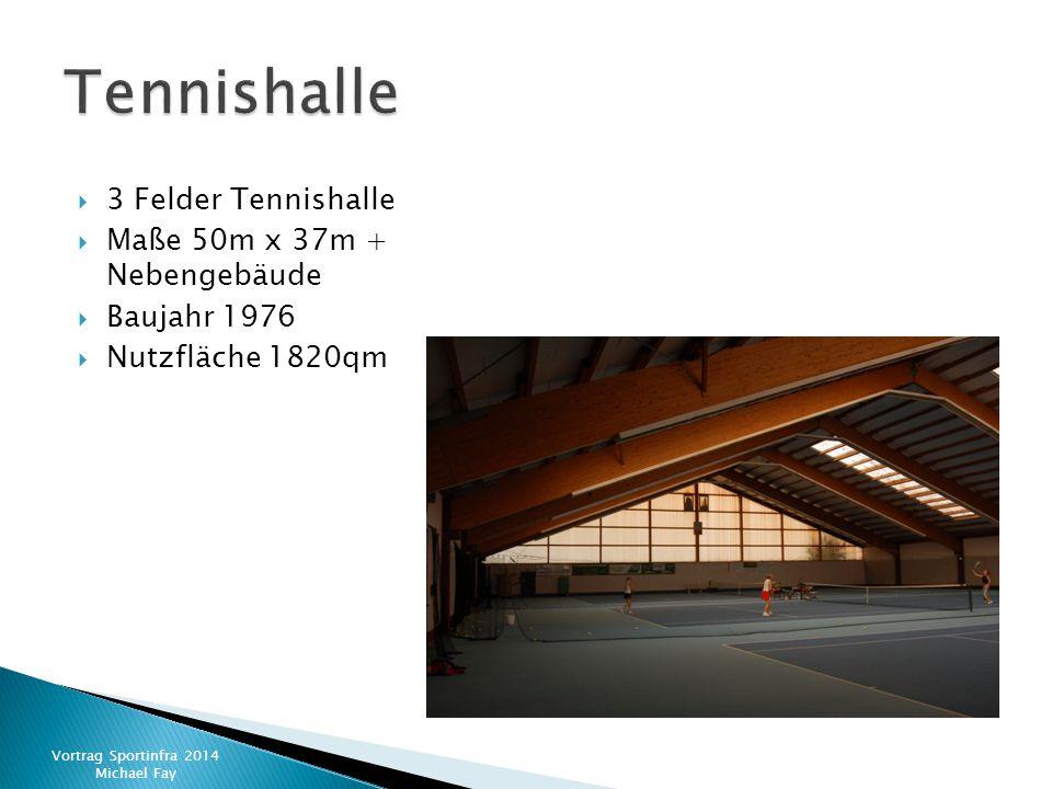  3 Felder Tennishalle  Maße 50m x 37m + Nebengebäude  Baujahr 1976  Nutzfläche 1820qm Vortrag Sportinfra 2014 Michael Fay