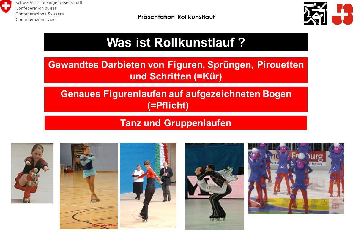 Präsentation Rollkunstlauf Was ist Rollkunstlauf ? Gewandtes Darbieten von Figuren, Sprüngen, Pirouetten und Schritten (=Kür) Genaues Figurenlaufen au