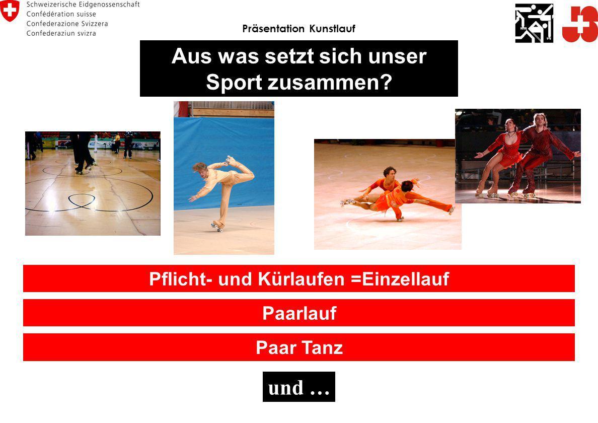 Paarlauf Pflicht- und Kürlaufen =Einzellauf Paar Tanz Präsentation Kunstlauf Aus was setzt sich unser Sport zusammen? und …