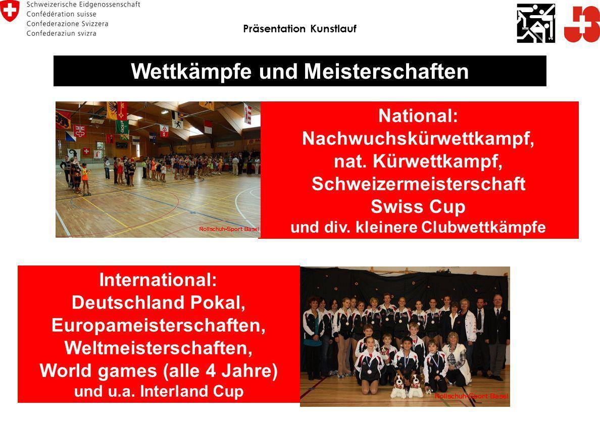 Wettkämpfe und Meisterschaften National: Nachwuchskürwettkampf, nat. Kürwettkampf, Schweizermeisterschaft Swiss Cup und div. kleinere Clubwettkämpfe I