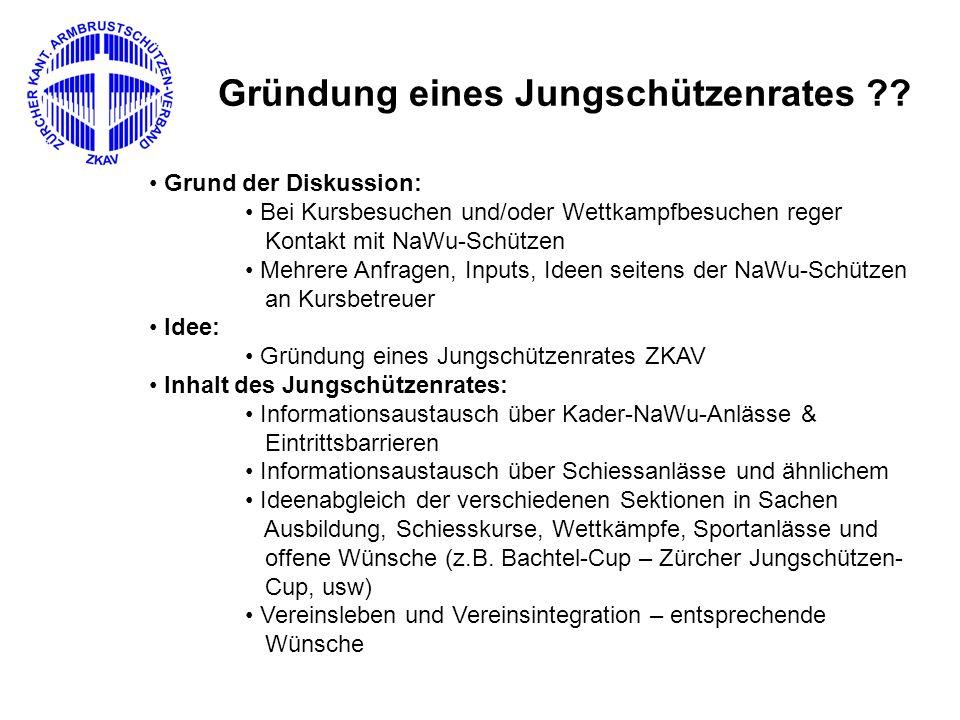 """Ausführung: Gründung NaWu-Leiter-Treffen 2007 Oberdürnten Erste Sitzung des Jungschützenrates """"mit Jungschützen: zur Schiesskonferenz ZKAV Freitag, 12."""