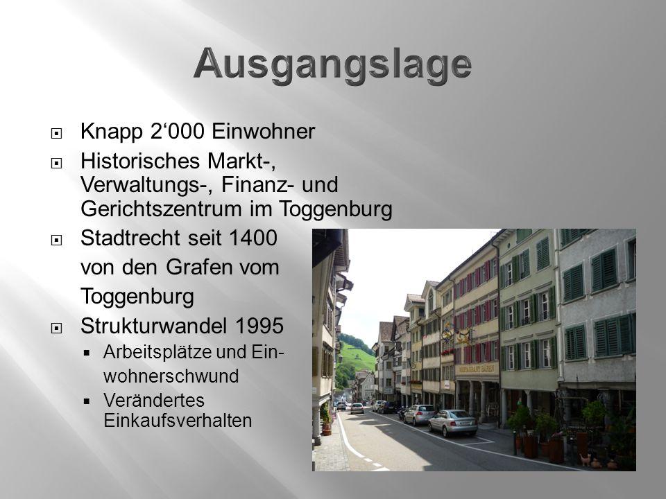  Knapp 2'000 Einwohner  Historisches Markt-, Verwaltungs-, Finanz- und Gerichtszentrum im Toggenburg  Stadtrecht seit 1400 von den Grafen vom Togge