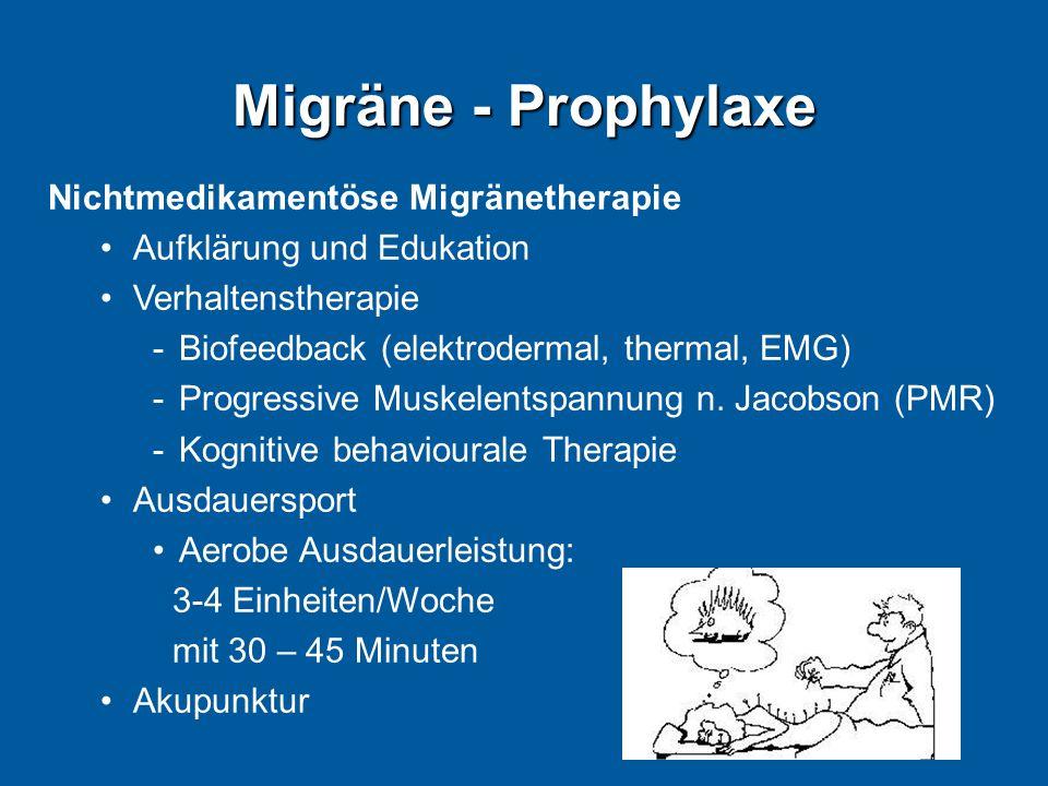 Migräne - Prophylaxe Nichtmedikamentöse Migränetherapie Aufklärung und Edukation Verhaltenstherapie -Biofeedback (elektrodermal, thermal, EMG) -Progre