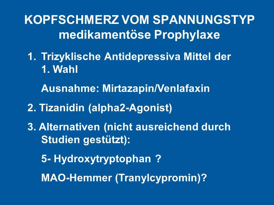 KOPFSCHMERZ VOM SPANNUNGSTYP medikamentöse Prophylaxe 1.Trizyklische Antidepressiva Mittel der 1. Wahl Ausnahme: Mirtazapin/Venlafaxin 2. Tizanidin (a