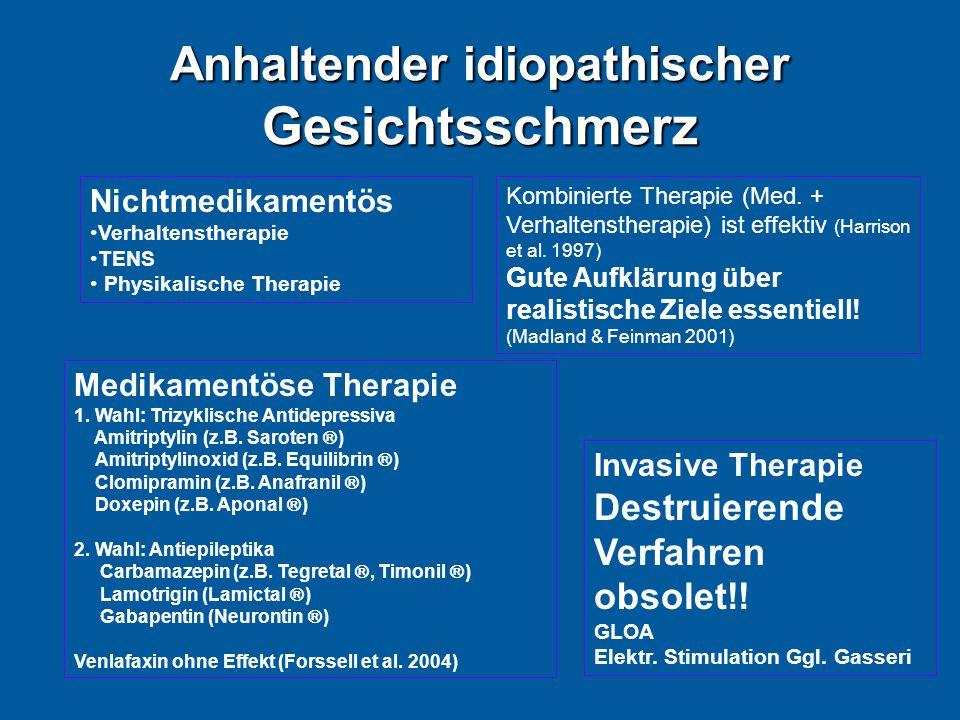 Anhaltender idiopathischer Gesichtsschmerz Medikamentöse Therapie 1. Wahl: Trizyklische Antidepressiva Amitriptylin (z.B. Saroten  ) Amitriptylinoxid