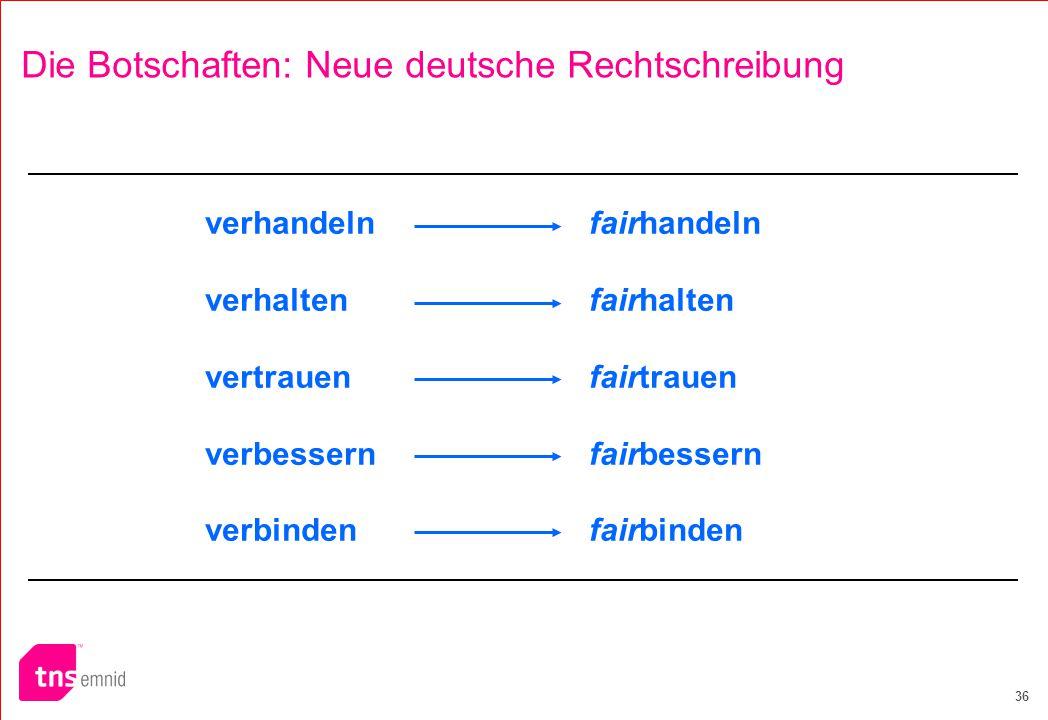 36 Die Botschaften: Neue deutsche Rechtschreibung verhandelnfairhandeln verhaltenfairhalten vertrauenfairtrauen verbessernfairbessern verbindenfairbinden