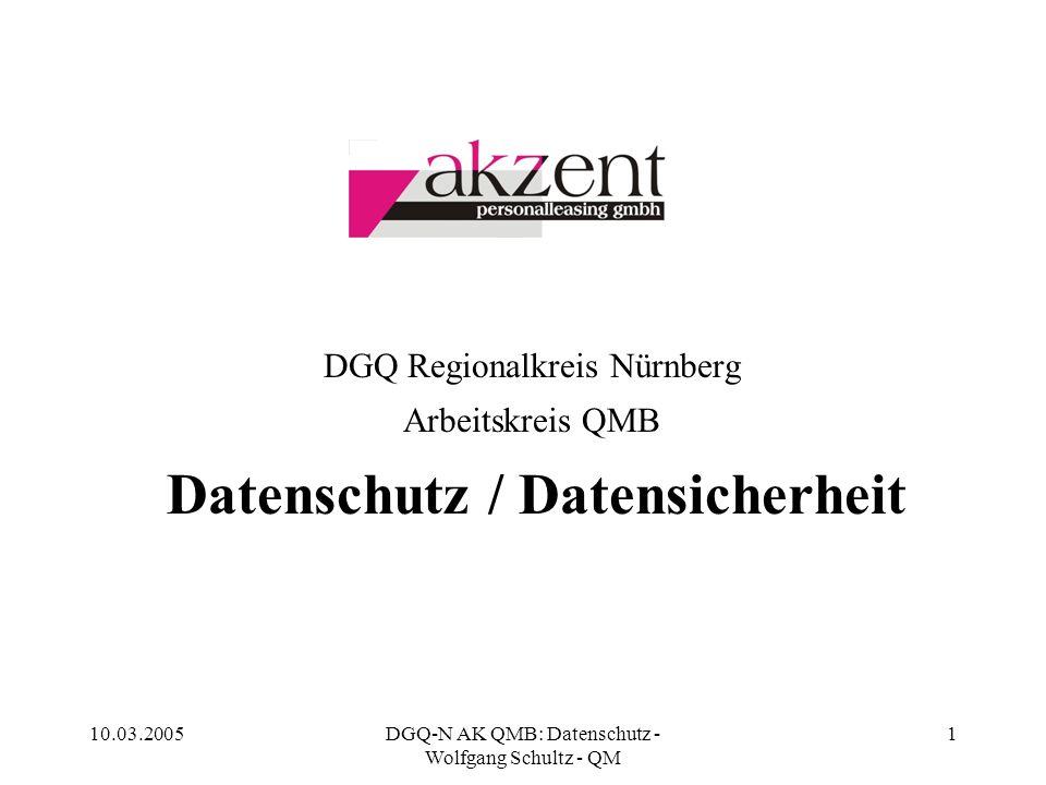 10.03.2005DGQ-N AK QMB: Datenschutz - Wolfgang Schultz - QM 1 DGQ Regionalkreis Nürnberg Arbeitskreis QMB Datenschutz / Datensicherheit