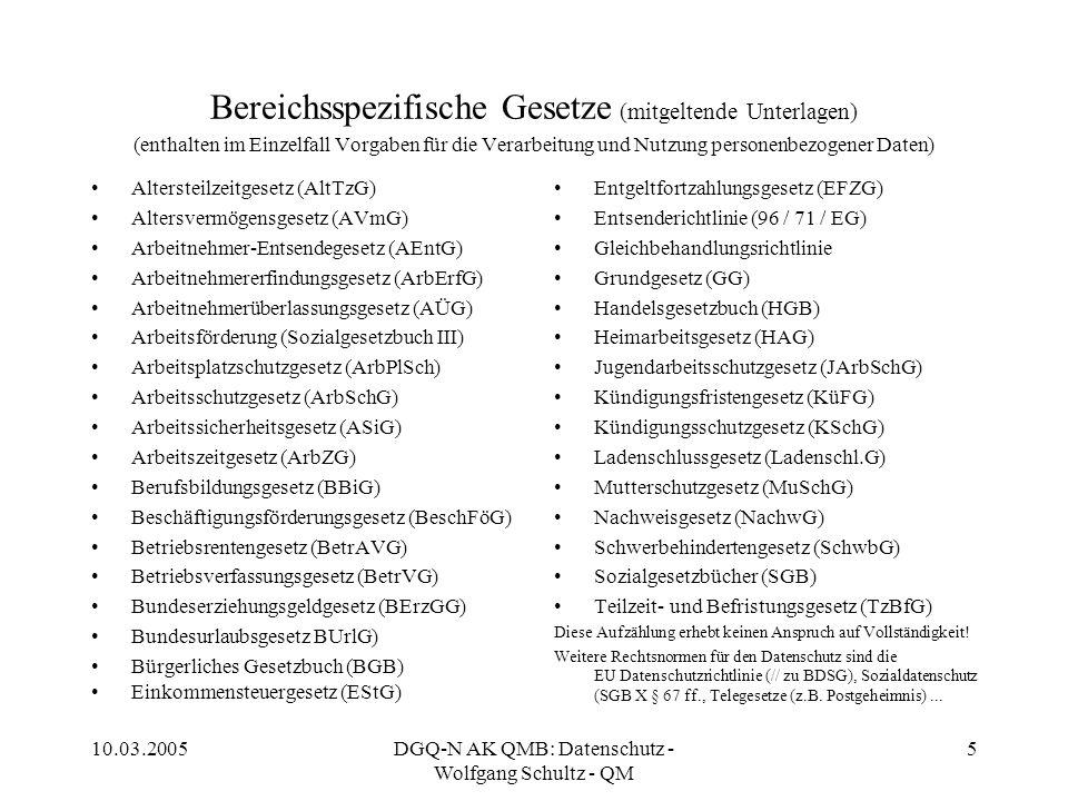 10.03.2005DGQ-N AK QMB: Datenschutz - Wolfgang Schultz - QM 5 Bereichsspezifische Gesetze (mitgeltende Unterlagen) (enthalten im Einzelfall Vorgaben f