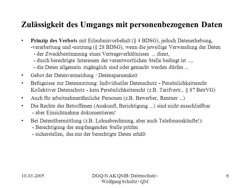 10.03.2005DGQ-N AK QMB: Datenschutz - Wolfgang Schultz - QM 6 Zulässigkeit des Umgangs mit personenbezogenen Daten Prinzip des Verbots mit Erlaubnisvo