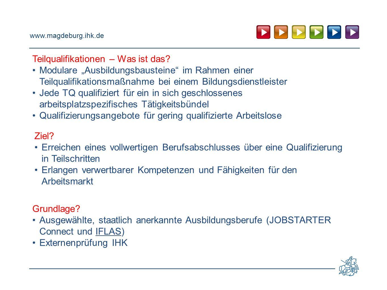 """www.magdeburg.ihk.de Teilqualifikationen – Was ist das? Modulare """"Ausbildungsbausteine"""" im Rahmen einer Teilqualifikationsmaßnahme bei einem Bildungsd"""