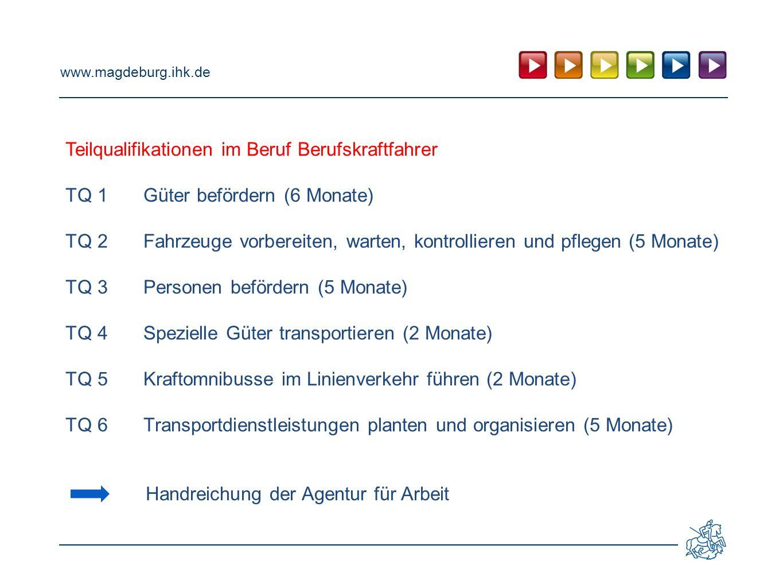 www.magdeburg.ihk.de Teilqualifikationen im Beruf Berufskraftfahrer TQ 1Güter befördern (6 Monate) TQ 2Fahrzeuge vorbereiten, warten, kontrollieren un