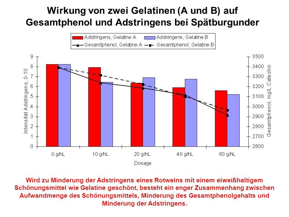 Wirkung von zwei Gelatinen (A und B) auf Gesamtphenol und Adstringens bei Spätburgunder Wird zu Minderung der Adstringens eines Rotweins mit einem eiw