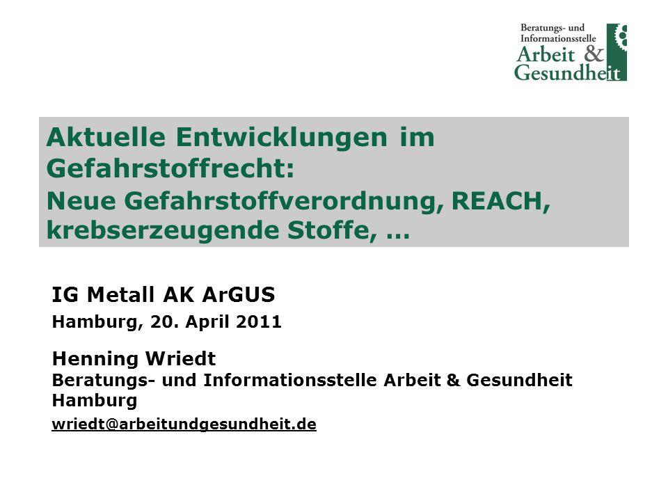 Henning WriedtIG Metall AK ArGUS Hamburg, April 2011 22 Neues Symbol: für krebserzeugende / erbgutverändernde / fortpflanzungsschädigende Stoffe