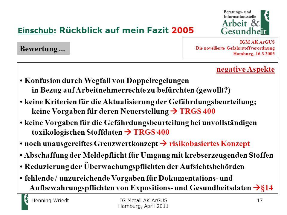 Henning WriedtIG Metall AK ArGUS Hamburg, April 2011 17 IGM AK ArGUS Die novellierte Gefahrstoffverordnung Hamburg, 16.3.2005 Bewertung...