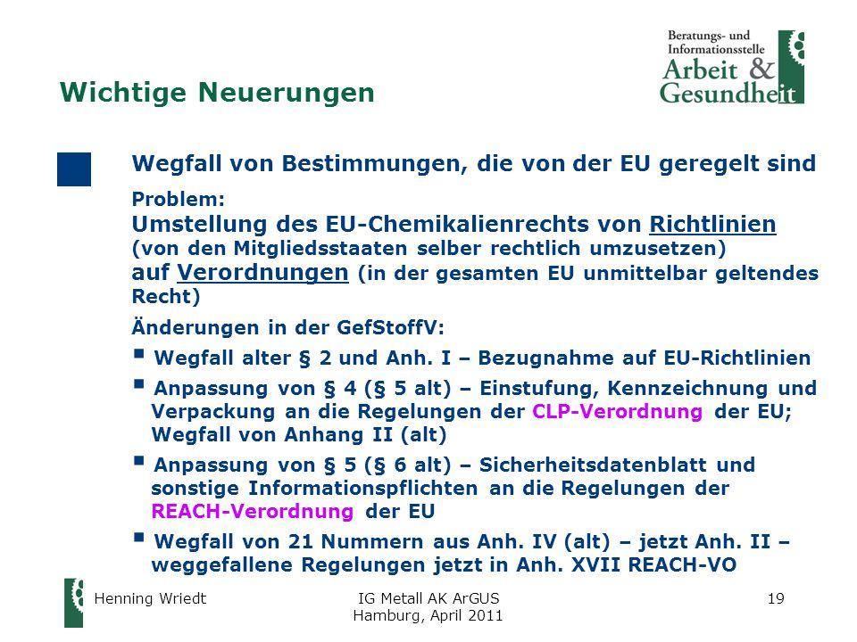 Henning WriedtIG Metall AK ArGUS Hamburg, April 2011 19 Wegfall von Bestimmungen, die von der EU geregelt sind Problem: Umstellung des EU-Chemikalienrechts von Richtlinien (von den Mitgliedsstaaten selber rechtlich umzusetzen) auf Verordnungen (in der gesamten EU unmittelbar geltendes Recht) Änderungen in der GefStoffV:  Wegfall alter § 2 und Anh.