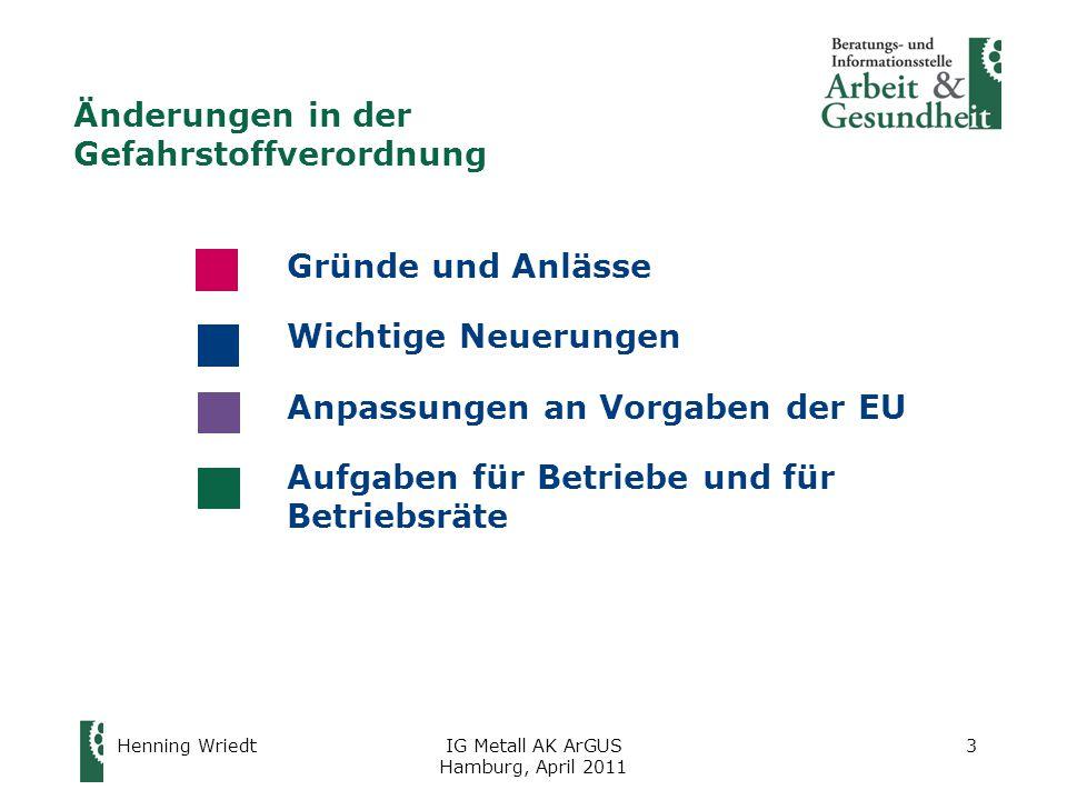 Henning WriedtIG Metall AK ArGUS Hamburg, April 2011 3 Änderungen in der Gefahrstoffverordnung Gründe und Anlässe Wichtige Neuerungen Anpassungen an Vorgaben der EU Aufgaben für Betriebe und für Betriebsräte