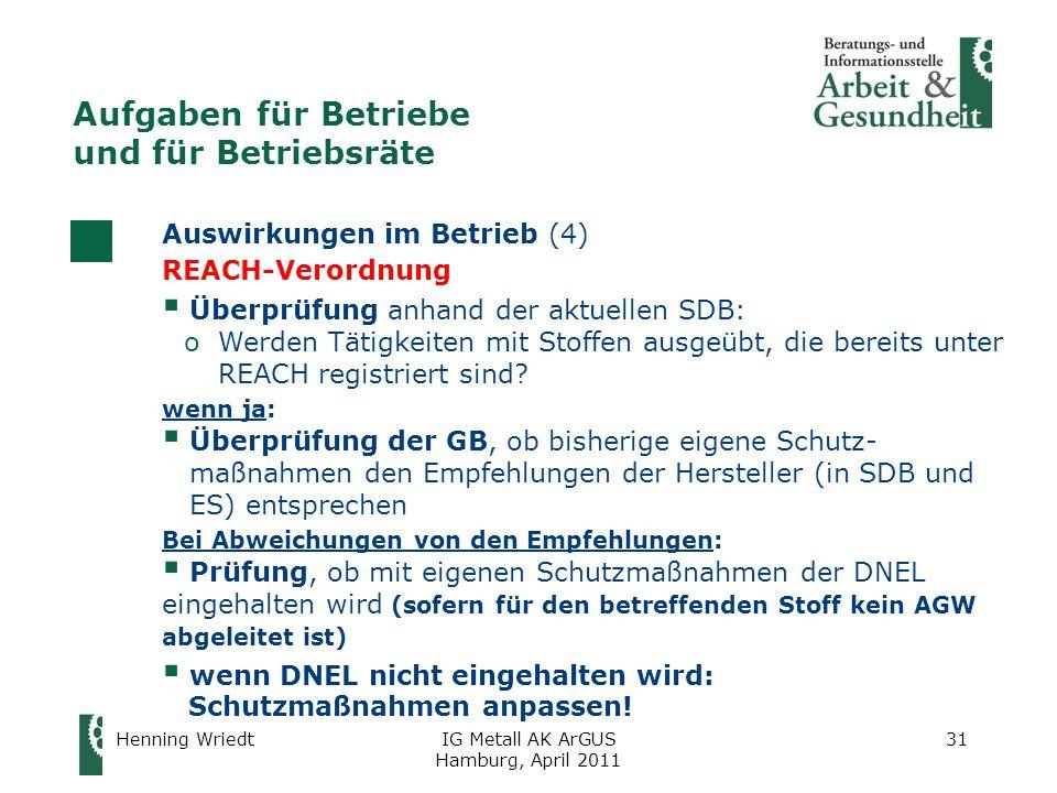 Henning WriedtIG Metall AK ArGUS Hamburg, April 2011 31 Auswirkungen im Betrieb (4) REACH-Verordnung  Überprüfung anhand der aktuellen SDB: oWerden Tätigkeiten mit Stoffen ausgeübt, die bereits unter REACH registriert sind.