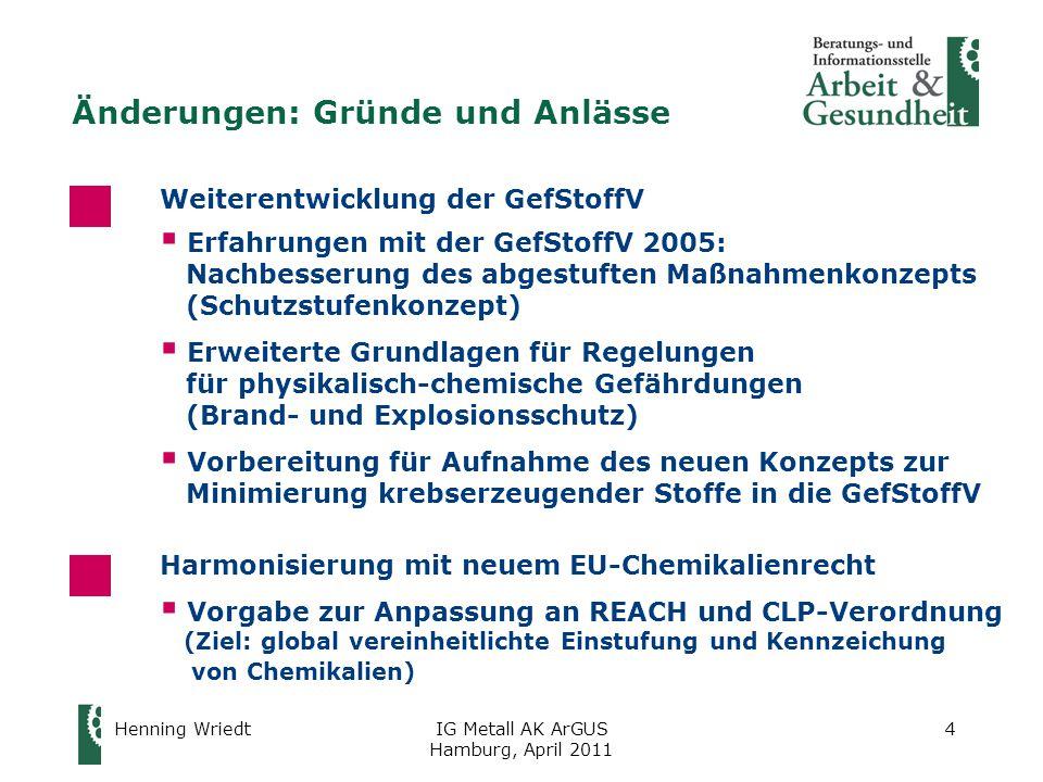Henning WriedtIG Metall AK ArGUS Hamburg, April 2011 25 REACH-Verordnung (2)  Anwendung für neue Stoffe: seit 1.6.2008 für alte (bereits am Markt befindliche) Stoffe in Stufen innerhalb von zehn Jahren: ofür Altstoffe > 1.000 t/Jahr:seit 1.12.2010 ofür Altstoffe mit 100 – 1.000 t/Jahr: ab 1.6.2015 ofür Altstoffe < 100 t/Jahr: ab 1.6.2018  auch Instrument für Arbeitsschutz Verwender von Stoffen und Gemischen erhält über das Sicherheitsdatenblatt (SDB) für registrierte Stoffe zusätzliche Informationen für die eigene Gefährdungsbeurteilung Anpassungen an die Vorgaben der EU