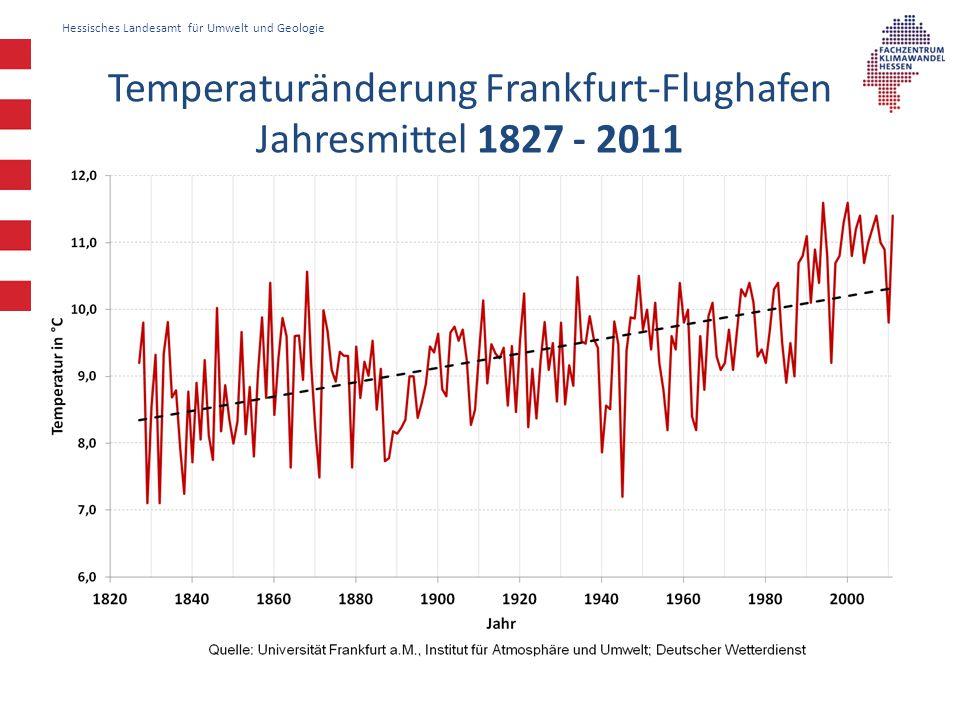 Hessisches Landesamt für Umwelt und Geologie Temperaturänderung Frankfurt-Flughafen Jahresmittel 1827 - 2011