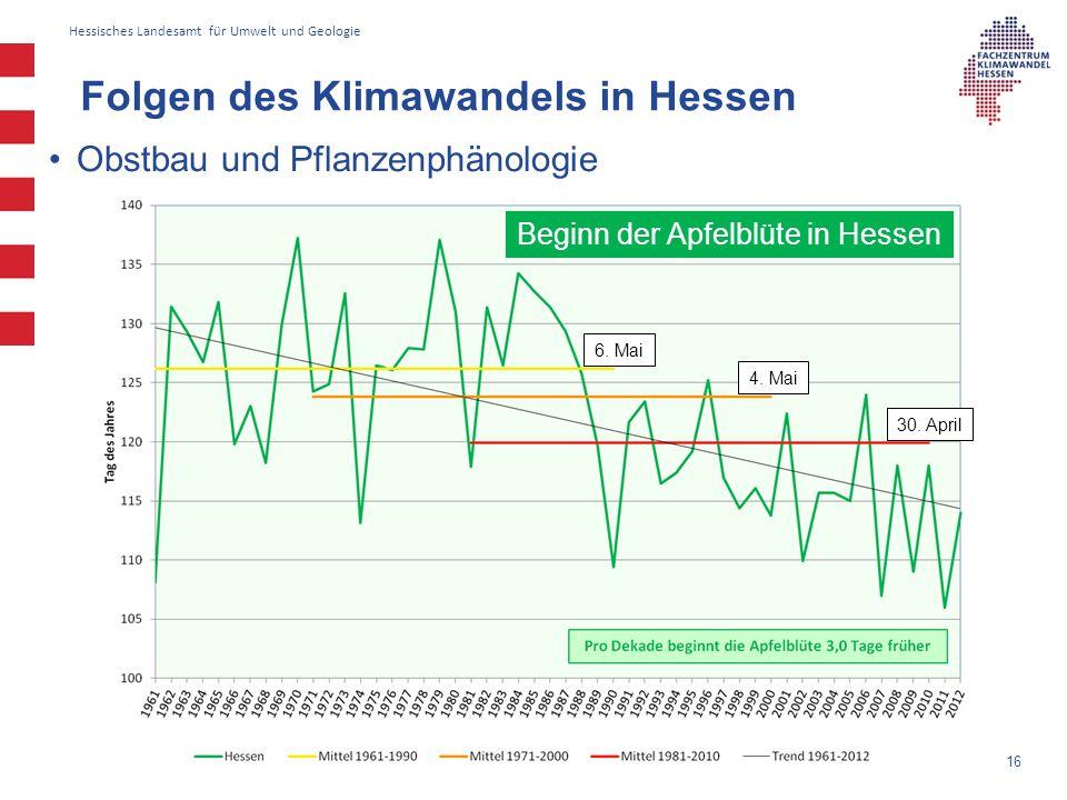 Hessisches Landesamt für Umwelt und Geologie Obstbau und Pflanzenphänologie Folgen des Klimawandels in Hessen 16 Beginn der Apfelblüte in Hessen 6. Ma
